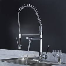 Solid Brass Spring Kitchen Faucet with Two Spouts Chrome Finish