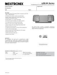 Emergency Lighting Test Sheet Exitronix Led 90 Spec Sheet