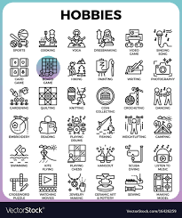 Interests Amp Hobbies Hobbies And Interest Detailed Line Icons Vector Image
