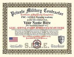 Certificate Of Completion Training Simple Amazon Private Military Contractor Diploma Certificate