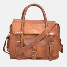handmade leather handbag with zip top whole front