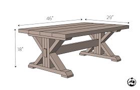 trestle coffee table free diy plans