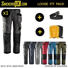 Snickers 3212 Duratwill Holster Pocket Trousers Pack 1 X 3212 Trousers Plus 9110 Knee Pads 9025 Belt