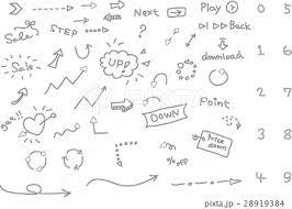 手書き 矢印 セットのイラスト素材 28919384 Pixta