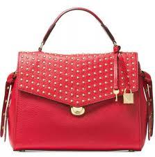 new michael kors bristol medium top handle satchel bag red push lock leather