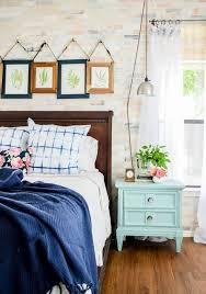 Eclectic bedroom and beautiful Shibori-dyed pillows.