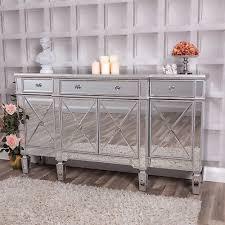 silver large mirrored sideboard unit cabinet venetian glass cupboard hallway