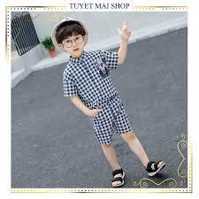 Quần áo trẻ em | Đồ bộ bé trai | Thời trang bé trai mùa hè kẻ caro [3-12  tuổi]