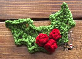 Learn how to work this pretty knit leaf pattern by watching this video tutorial! Holly And Berries Crochet Pattern From Home Crochet