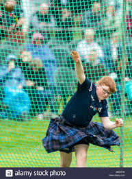 6 July 2019. Grant Park, Forres, Moray, Scotland, UK. This is a scene from  the 2019 Highland Games held at Forres. Picture Content:- Byron Hart throws  Stock Photo - Alamy