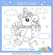 Worksheets Dot Dots Drawn Cute Unicorn Stock Vector Royalty Free