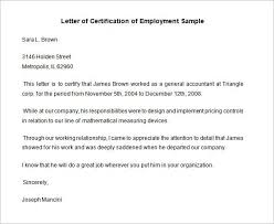 Certification Of Employment Letter Template Free Sample Request