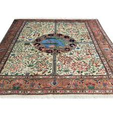 287 x 404 simple and subtle peach cream persian tabriz wool rug