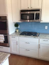 Kitchen Backsplash Glass Tile Sky Blue Glass Subway Tile Backsplash In Modern White Kitchen