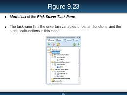 spreadsheet based decision support systems ppt video online  figure 9 23 model tab of the risk solver task pane