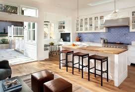 Dining Room:Open Kitchen With Wood Top Island And Breakfast Nook Across  Subway Backsplash Astonishing
