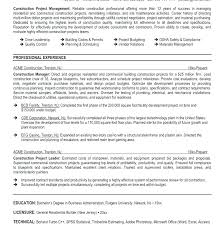 Resumes For Construction Construction Manager Resume Construction