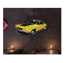 car shape cafe bar home decor mural wall mounted hanging with led light 55 28cm