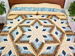 Diamond Star Quilt -- exquisite skillfully made Amish Quilts from ... & Pastel Blue and Gold Diamond Star Log Cabin Quilt Photo 1 ... Adamdwight.com