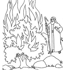 Small Picture Fire Burning Bush in Fornt of Moses Colouring Page Happy Colouring