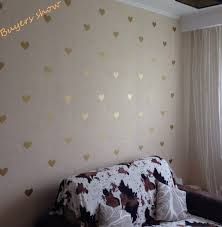 free metallic gold wall stickers heart shaped pattern vinyl inside decals design 19