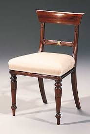 Mahogany Regency Style Side Chair With Brass Accent And Moir Upholstery Regency Style Furniture A67