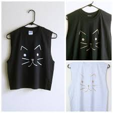 Custom Cat Shirt Muscle Tee Grunge Clothing Crop Top Or