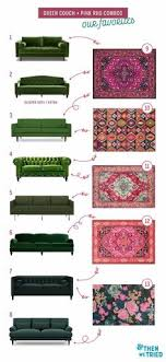 perfect green couch and pink rug pairings for a bright and colorful living room