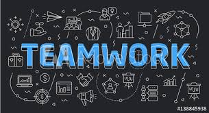Teamwork Presentations Linear Flat Illustration For Presentations Dark Background Teamwork