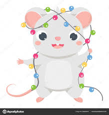 Chinese Symbol Of Light Cartoon Mouse Cute Rat In New Year Light Baubles Garland
