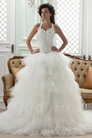 ball gown straps cathedral train ruffles wedding dress tbdress com