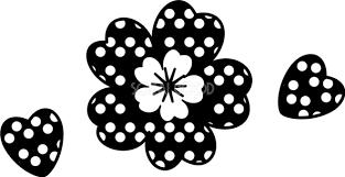 白黒ドット桜のかわいい無料イラスト 春41379 素材good