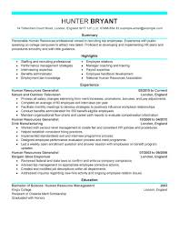 Human Resources Manager Job Description And Resume Resource Sample