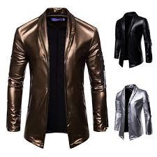 senarai harga motorcycle leather jacket mens suits tuxedos elastic pu leather zipper suit male blzer fashion silver black gold terbaru di malaysia