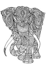 coloring page elephant patterns a big elephant full of details