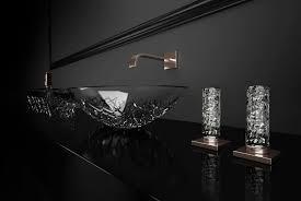 Miscelatore doppio comando per lavabo da appoggio in cristallo