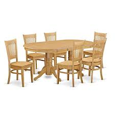 east west furniture vanc7 oak w 7 piece dining table set