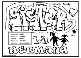 English Spanish Free Printable Graffiti Coloring