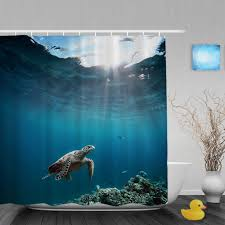 Sea Turtle Bathroom Accessories Custom Printed Shower Curtains