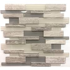 12 in x 12 in 3d wooden light grey stone and glass linear mosaic