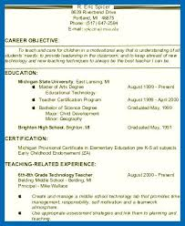 Teacher Resume Objective Examples Gorgeous Objective For Resume For Teachers Teacher Resume Objective 48 Example