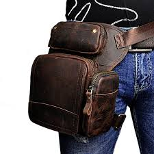 men s waist thigh drop leg bag oil wax genuine leather messenger shoulder bag travel motorcycle riding pack
