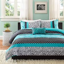 teal blue black cheetah animal print teen girl bedding twin xl full queen comforter quilt duvet set
