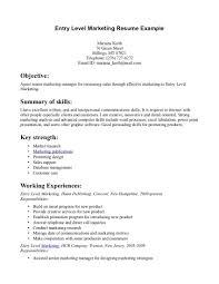 Entry Level Marketing Resume Samples Entry Level Marketing