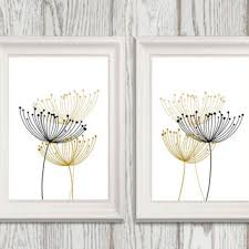 abstract black and gold flower wall art set of 2 dandelion minimalist wall decor moder on abstract wall art set of 2 with abstract black and gold flower wall art from dorindaart on etsy