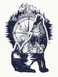 Obraz Wolf A Hory Dvojité Expozice Tetování Umění Symbol Turistika