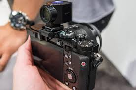 sony rx1. the hot shoe functions as an accessory attachment point, you can see optical viewfinder and thumb rest mounted just below it. sony rx1 rx1