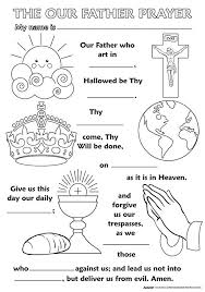 Childrens Religious Coloring Posters Our Father Prayer Crafts