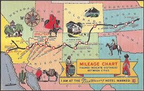 Fred Harvey Hotel Vintage Map Postcard Southwest United