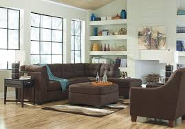 Walnut Living Room Furniture Sets Benchcraft Maier Walnut 2 Piece Sectional W Sleeper Sofa Left
